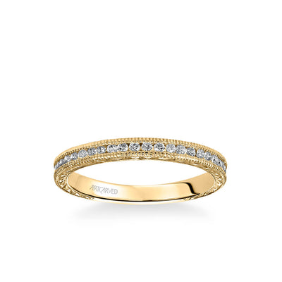 Zoya Vintage Diamond and Milgrain Engraved Wedding Band