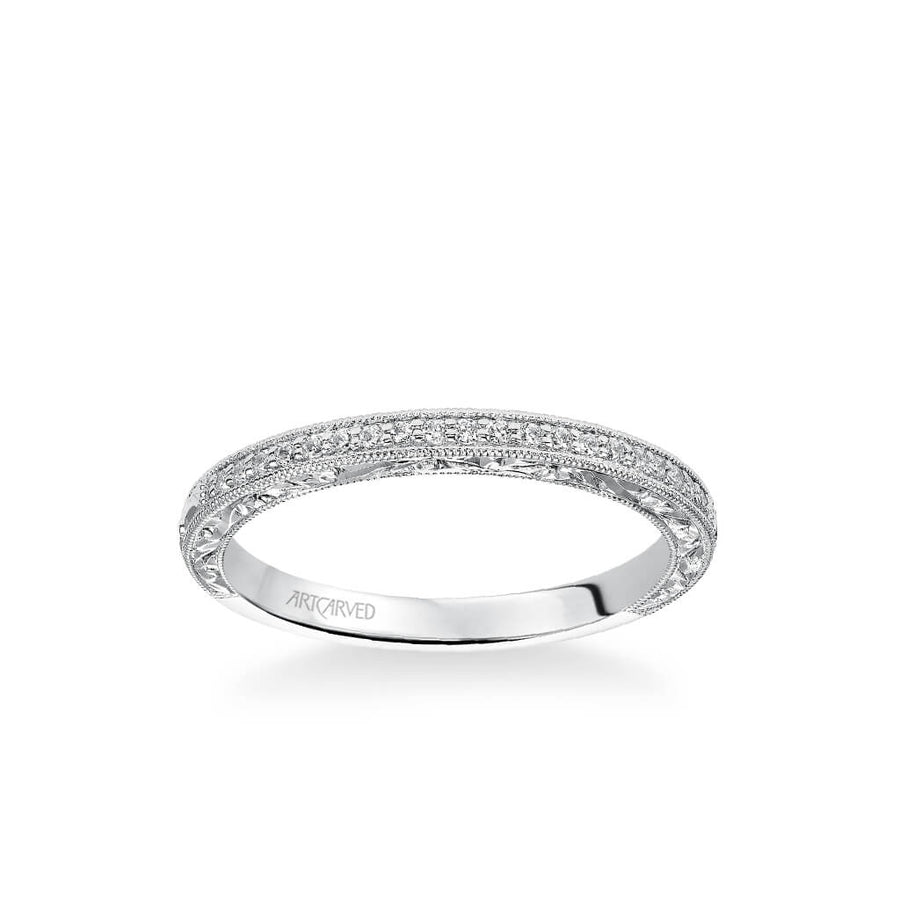 Julie Vintage Diamond and Milgrain Engraved Wedding Band