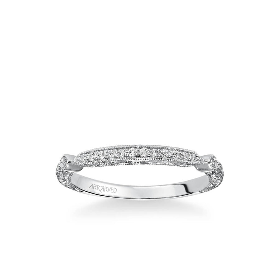 Crystal Vintage Diamond and Milgrain Engraved Wedding Band