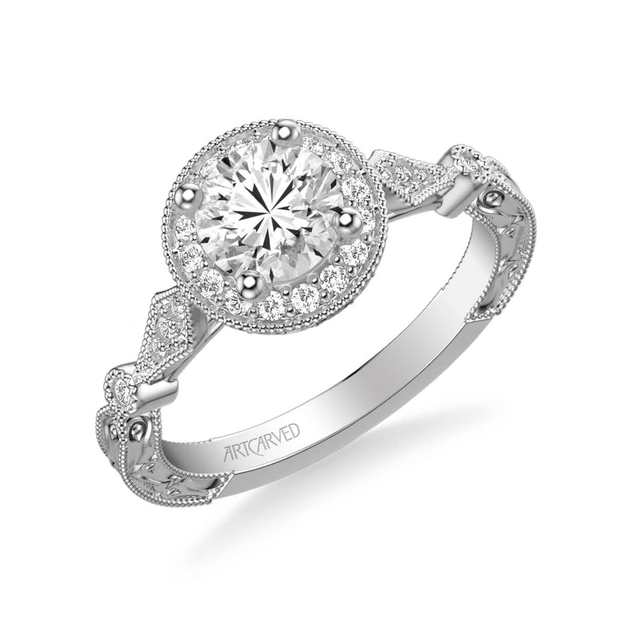 Crystal Vintage Round Halo Diamond Engagement Ring