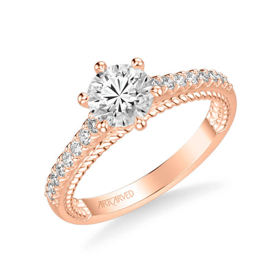 Ilena Contemporary Side Stone Rope Diamond Engagement Ring