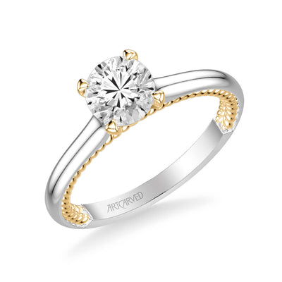 Cameron Contemporary Solitaire Rope Diamond Engagement Ring