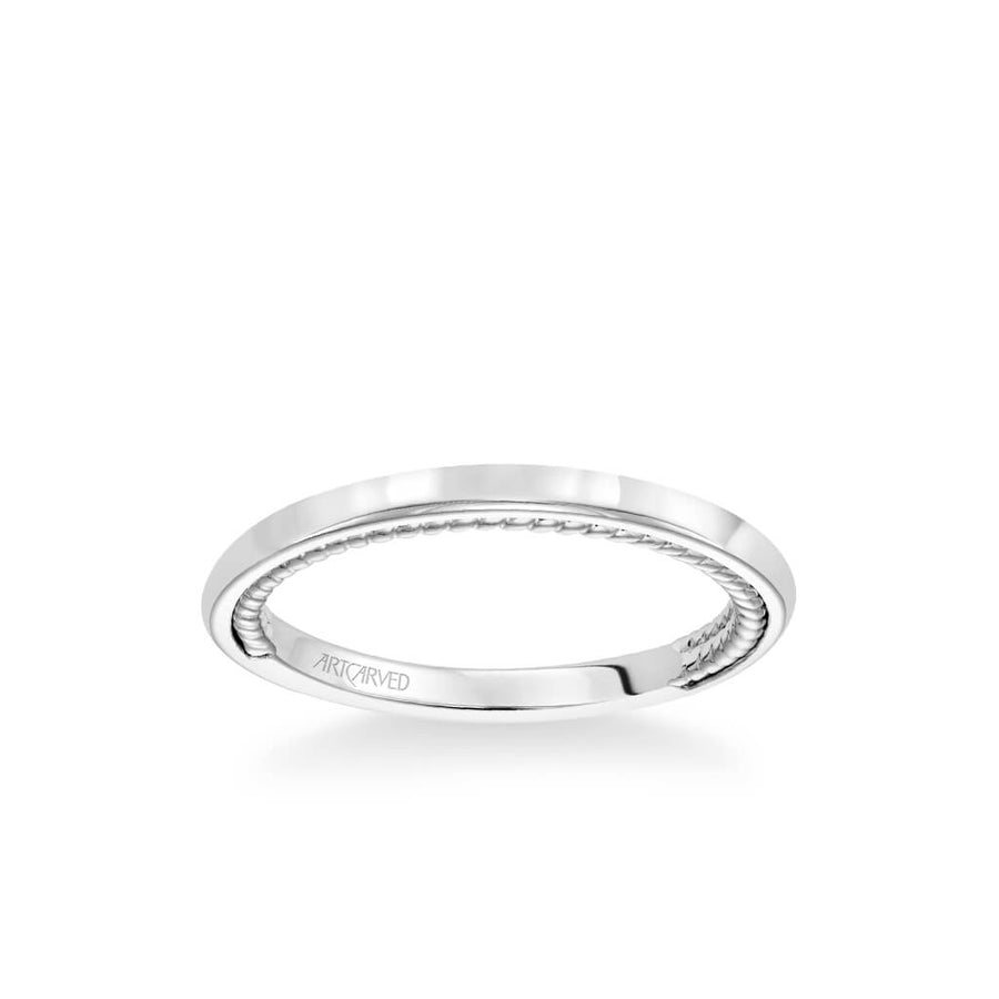 Cameron Contemporary Polished and Rope Wedding Band