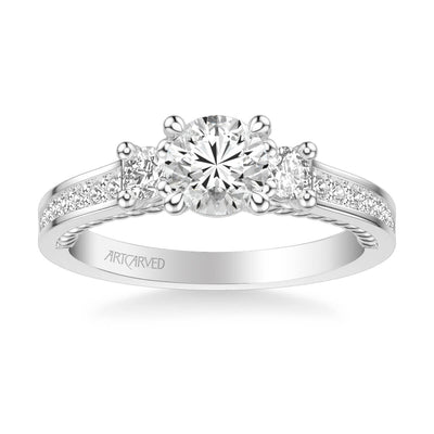 Marlow Contemporary Three Stone Rope Diamond Engagement Ring