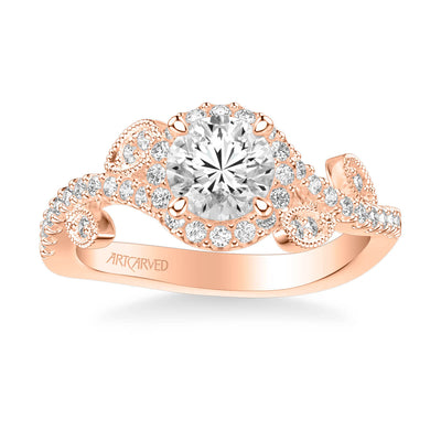 Thalia Contemporary Round Halo Floral Diamond Engagement Ring