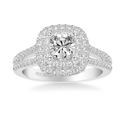 Dorothy Classic Cushion Halo Diamond Engagement Ring