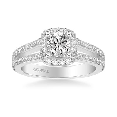 Evangeline Classic Cushion Halo Diamond Engagement Ring