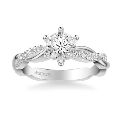 Marnie Contemporary Side Stone Twist Diamond Engagement Ring
