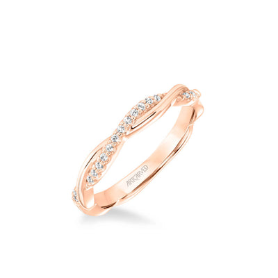 Tala Contemporary Half Diamond Half Polished Twist Wedding Band