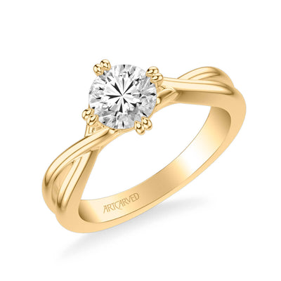 Kennedy Contemporary Solitaire Side Stone Twist Diamond Engagement Ring