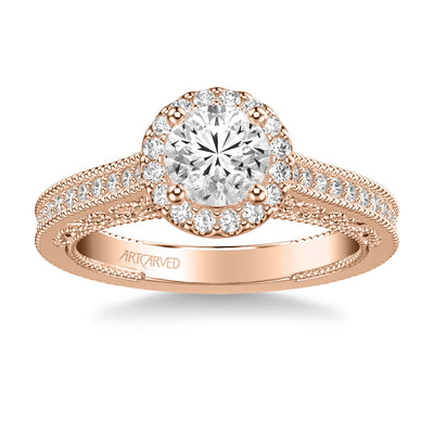 Indra Vintage Round Halo Diamond Heritage Collection Engagement Ring