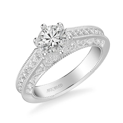 Cossette Vintage Side Stone Heritage Collection Diamond Engagement Ring
