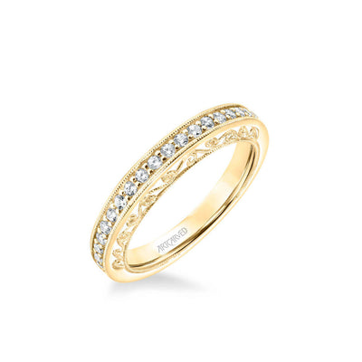 Cossette Vintage Heritage Collection Diamond and Milgrain Filigree Scrollwork Wedding Band