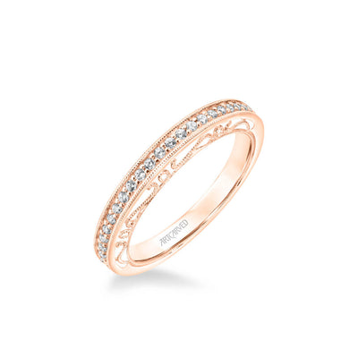 Juliana Vintage Heritage Collection Diamond and Milgrain Filigree Scrollwork Wedding Band
