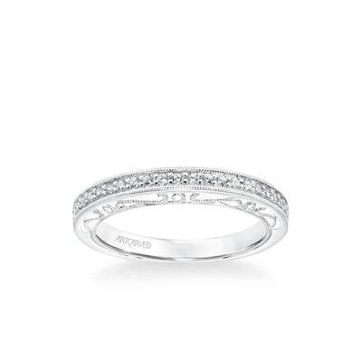 Velma Vintage Heritage Collection Diamond and Milgrain Filigree Scrollwork Wedding Band