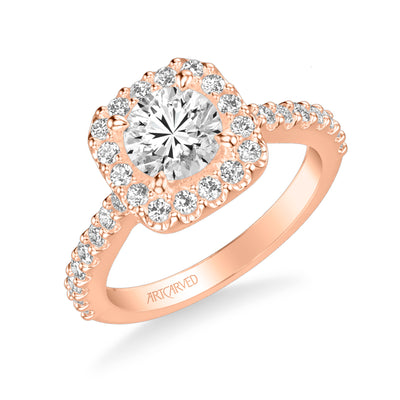 Lenore Classic Round Halo Diamond Engagement Ring