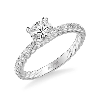 Wren Contemporary Side Stone Rope Diamond Engagement Ring