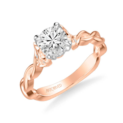 Cherie Contemporary Solitaire Floral Diamond Engagement Ring