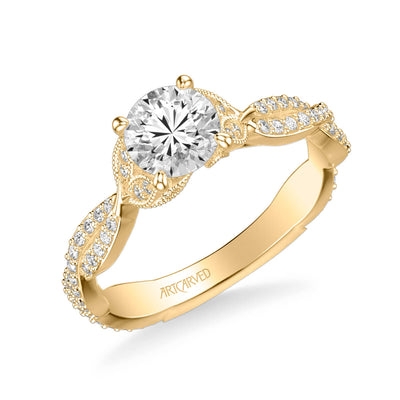Freesia Contemporary Side Stone Floral Diamond Engagement Ring
