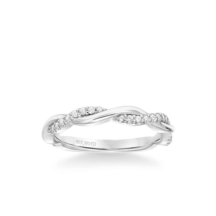 Daffodil Contemporary Half Diamond Half Polished Wedding Band