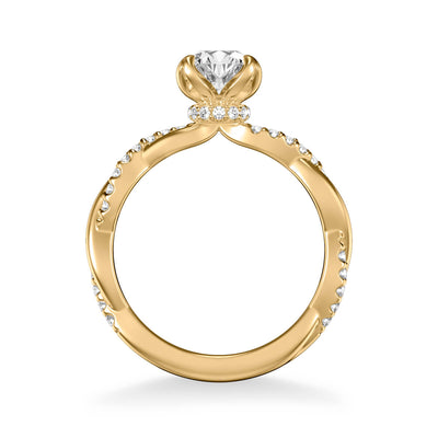 Daffodil Contemporary Side Stone Floral Diamond Engagement Ring