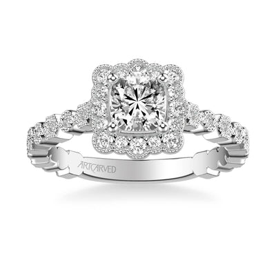 Lilith Vintage Unique Halo Diamond Engagement Ring