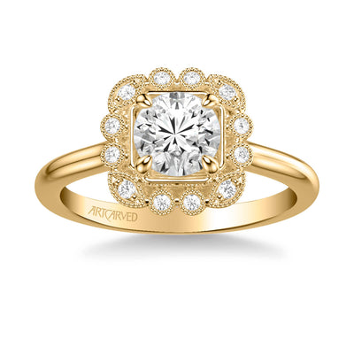 Mabel Vintage Multi-Shaped Halo Diamond Engagement Ring