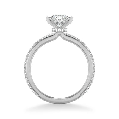 Gray Contemporary Side Stone Bezel Diamond Engagement Ring
