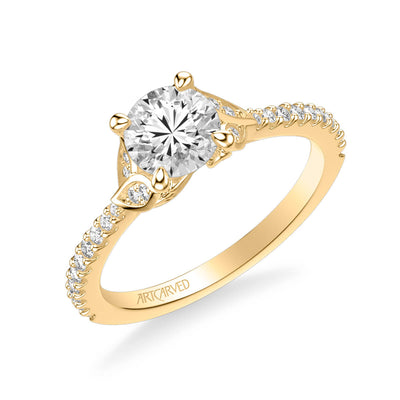 Bluebelle Contemporary Side Stone Floral Diamond Engagement Ring