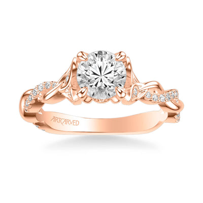 Amaryllis Contemporary Side Stone Floral Diamond Engagement Ring