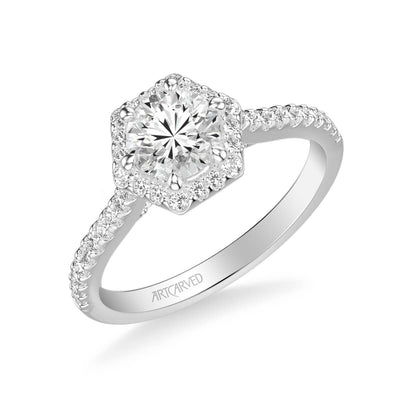 Lorelei Contemporary Hexagon Halo Diamond Engagement Ring