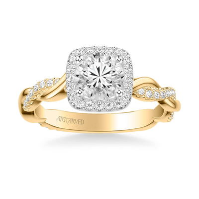 Ciara Contemporary Cushion Halo Twist Diamond Engagement Ring
