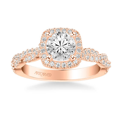 Eileen Contemporary Cushion Halo Round Center Twist Diamond Engagement Ring