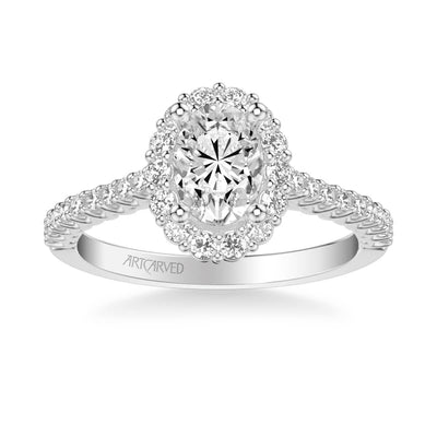 Jocelyn Classic Oval Halo Diamond Engagement Ring