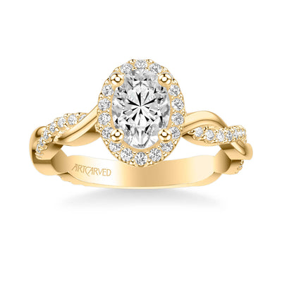 Rina Contemporary Oval Halo Twist Diamond Engagement Ring