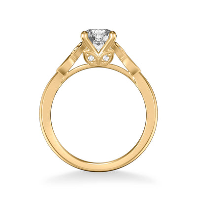 Heather Contemporary Side Stone Floral Diamond Engagement Ring