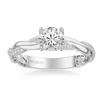 Starla Lyric Collection Contemporary Side Stone Twist Diamond Engagement Ring