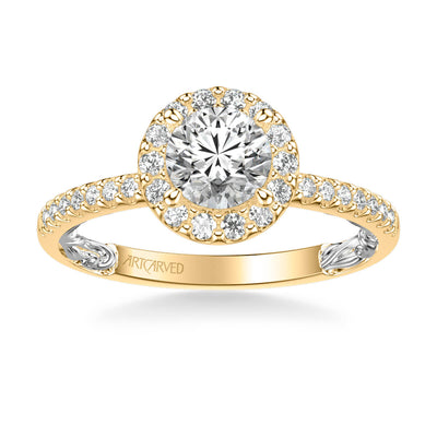 Winifred Lyric Collection Classic Side Stone Diamond Engagement Ring