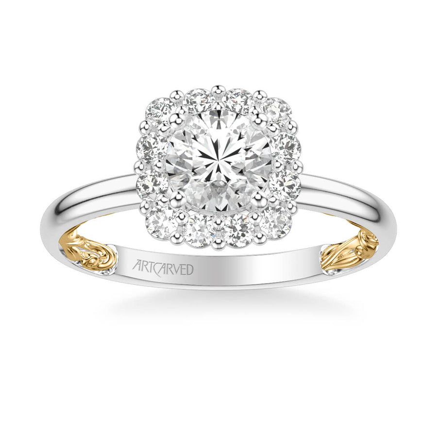 Courtney Lyric Collection Classic Cushion Halo Diamond Engagement Ring