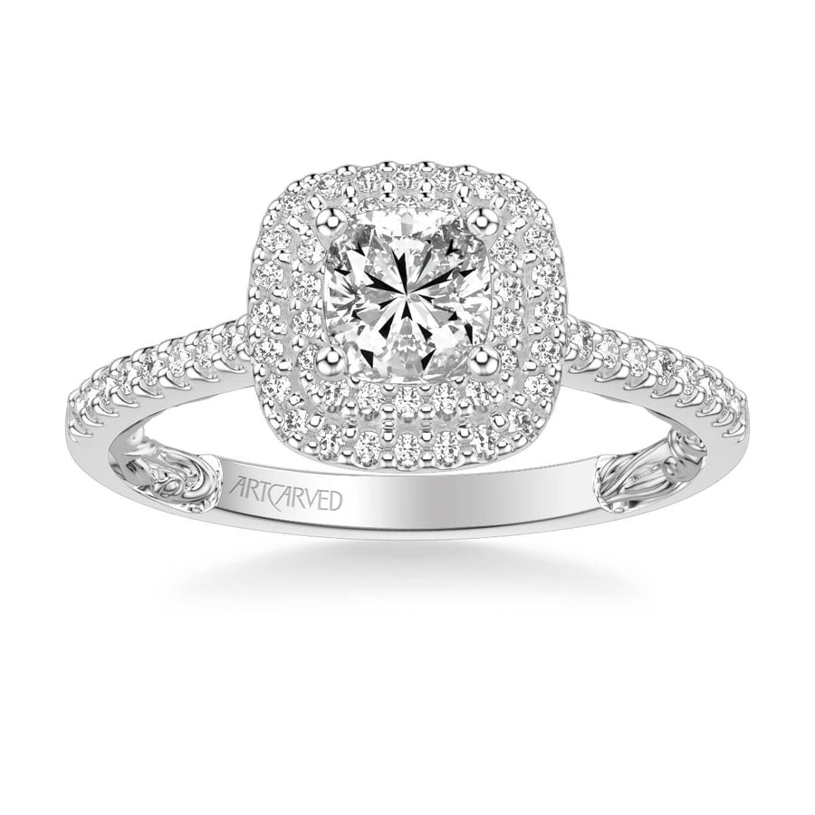 Haven Lyric Collection Classic Double Cushion Halo Diamond Engagement Ring