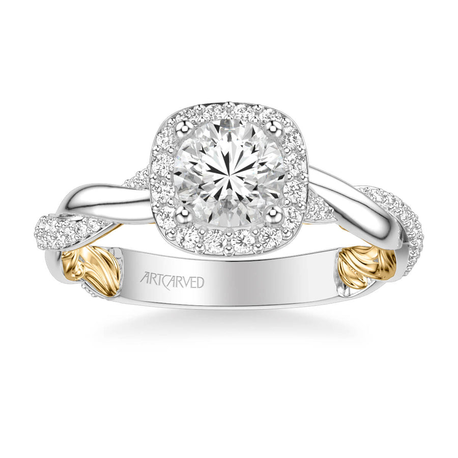 Ainsley Lyric Collection Contemporary Cushion Halo Twist Diamond Engagement Ring