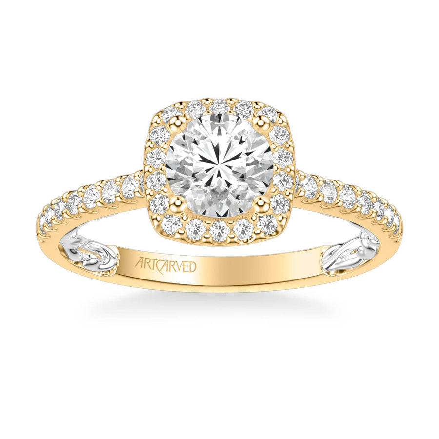 Mellie Lyric Collection Classic Cushion Halo Diamond Engagement Ring