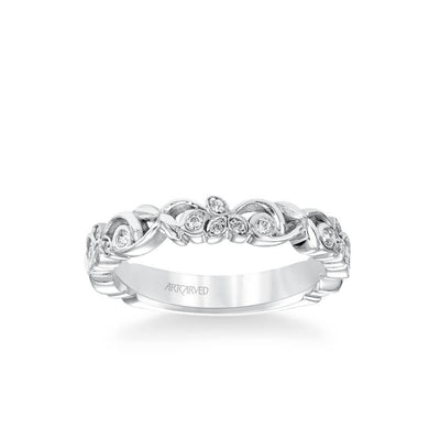 Stackable Band with Floral Design and Diamond Accents