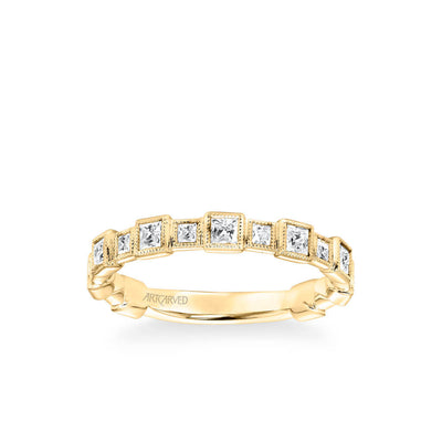 Stackable Band with Bezel Set Princess Diamonds and Milgrain Accents