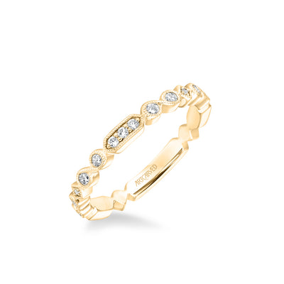Stackable Band with Diamond and Milgrain Multi-Shape Alternating Design