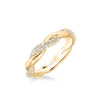 Stackable Band with Alternating Half Diamond Half Polished Twist