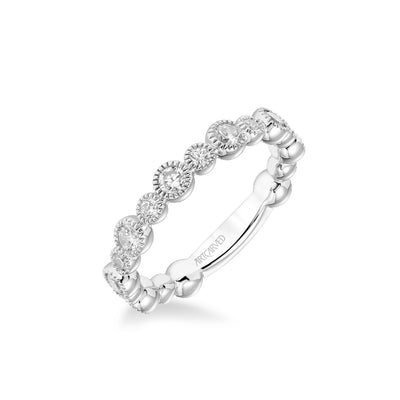 Stackable Band with Bezel Set Diamonds and Milgrain Accents