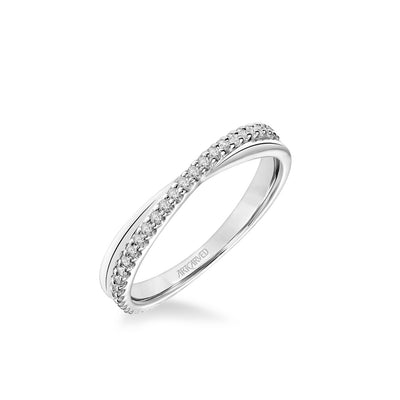 "Stackable Band with Diamond and Polished ""X"" Design"