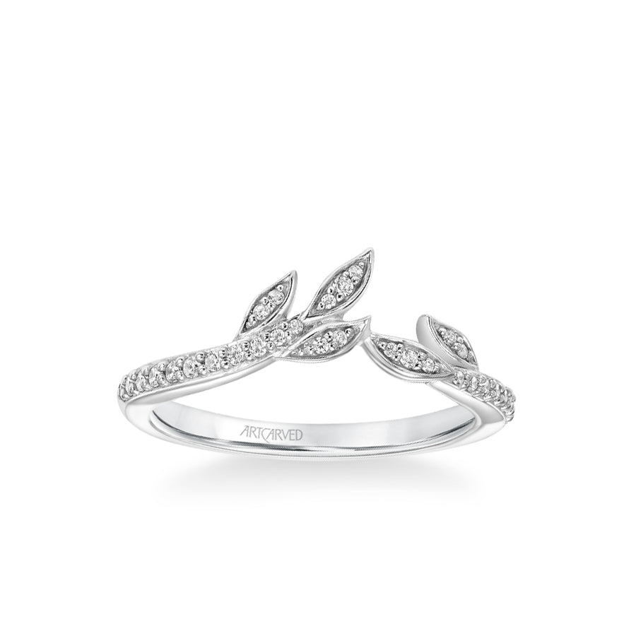 Stackable Diamond Band with Diamond Petal Accents