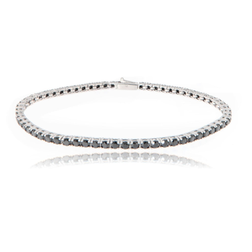 "Bracciale ""Tennis"" in argento 925 da 18,5 cm con gemme color nero da 2,5 mm"